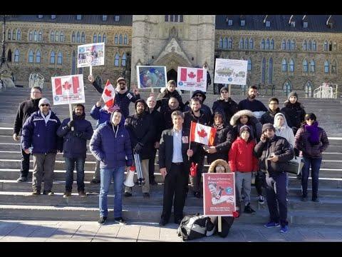 Ottawa Mark 4th year of Illegal Saudi war on Yemen infront of Paliament Hill Ottawa Canada - English