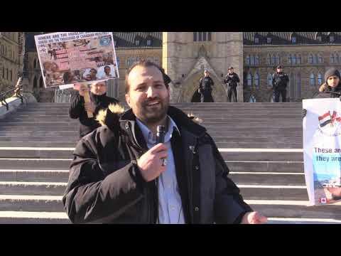 Ottawa Mark 4th year of Illegal Saudi war on Yemen Br  Kamel El Cheikh speech infront of Paliament Hill Canada - English