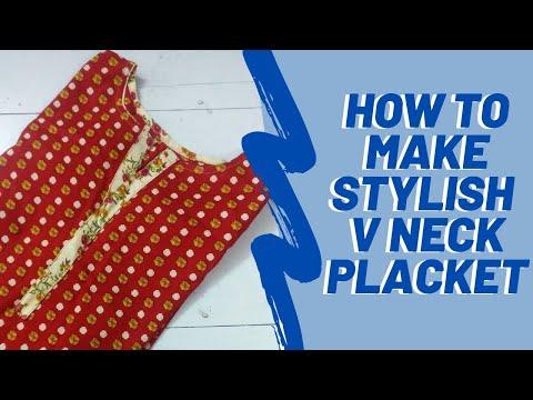 How to Make V Placket Neck Design: V Neck Design - Urdu
