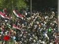 Baghdad Protesters Bring Down Effigy of Bush - English